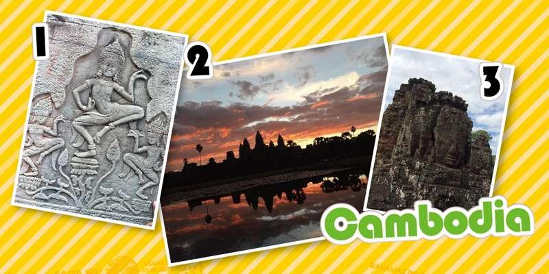 1.遺跡の壁に掘られた美しい彫刻 2.朝焼けに浮かぶアンコールワット 3.アンコールトムの中心にあるバイヨンには、四面に観世音菩薩の顔が掘られた塔が