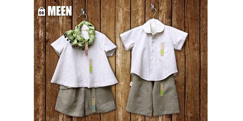 男女ともに品揃え豊富!(女の子「左」:スカーフ200B、シャツ400B、ズボン350B、男の子:シャツ350B、ズボン350B)