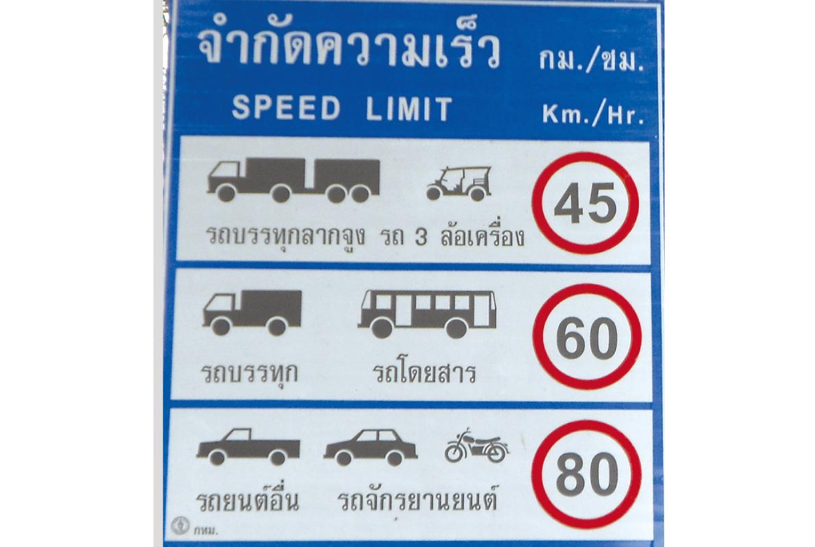 タイの道路の 法定速度って?