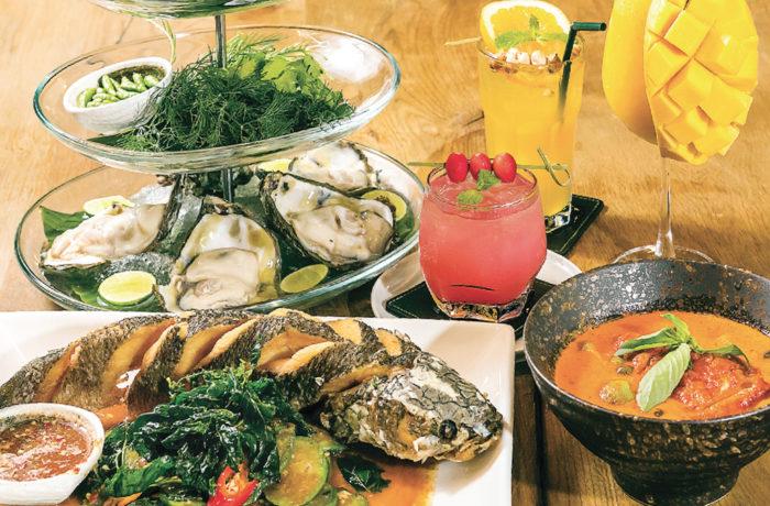 「シーフードソース付きライギョの素揚げ、ナスの香味板炒めとスイーツバジルフライ添え(手前左)」をはじめ、個性豊かなタイ料理をラインナップ