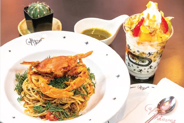 【Café Thieves & Bar】Soft Shell Crab Pasta  with Crab Paste Sauce 380 Bath - ワイズデジタル【タイで生活する人のための情報サイト】