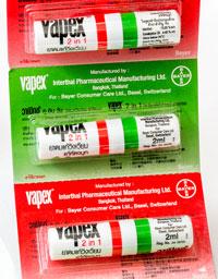 Vapex - ヴァペックス - 効能:鼻づまり、頭痛、めまい、吐き気 - 用法・用量:香りを嗅いだり、薬液をこめかみや鼻の下に塗布 - 情報:嗅ぎ薬(ヤードム)。目や粘膜に入らないよう注意してくださ - 価格目安:25B前後