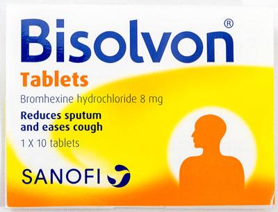 Bisolvon - ビソルボン - 効能:痰が絡む咳 - 用法・用量:1日3回、1回1錠を食後に服用 - 情報:日本でも同じ名で知られています - 価格目安:55B前後