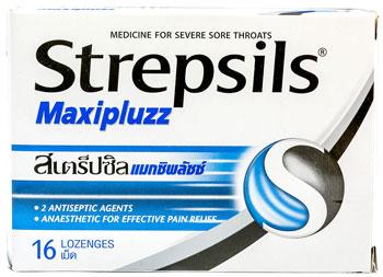 Strepsils Maxipluzz - ストレプシルズ・マキシプラズ - 効能:のどの痛 - 用法・用量:2〜3時間に1錠を口の中でゆっくりと溶かして服用。1日の上限数は8錠まで - 情報:2種の殺菌成分と、のどの痛みを軽減する局所麻酔成分を配合しています - 価格目安:50B前後