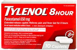 Tylenol 8hour - タイレノール・エイトアワー - 効能:熱、痛 - 用法・用量:1日3回、1回1錠を8時間毎に服用 - 情報:日本のアセトアミノフェンと同成分。5日以上継続して服用しないでください - 価格目安:30B前後