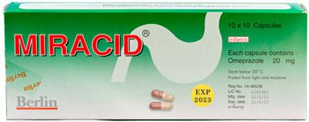 Miracid - ミラシッド - 効能:胃酸過多 - 用法・用量:1日2回、1回1〜2錠を食前に服用 - 情報:胃酸分泌を抑えます - 価格目安:50B前後