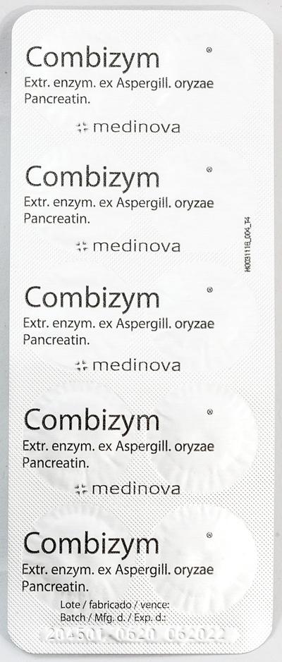 Combizym - コンビザイム - 効能:消化不良 - 用法・用量:1日3回、1回1〜2錠を食後に服用 - 情報:食べ過ぎや飲みすぎの胃もたれに。消化酵素が消化を助けます - 価格目安:65B前後