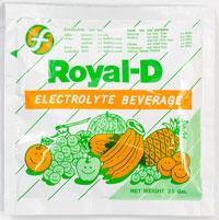 Royal-D - ローヤル・ディー - 効能:脱水状態時に - 用法・用量:コップ一杯の水に溶かし、一度に服用せず、こまめに回数を分けて服用 - 情報:脱水状態時の水分、電解質補給、維持に - 価格目安:75B前後