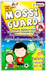 Mossi Guard - モッシ・ガード - 効能:虫よけ - 用法・用量:洋服やベビーカーに張り付けて使用 - 情報:シトロネラの香りの虫よけパッチ。直接肌には貼らないでください - 価格目安:40B前後