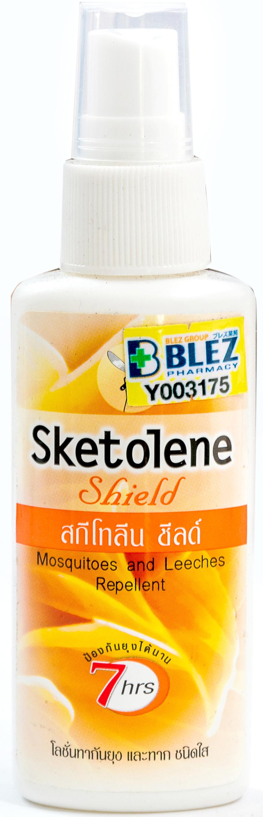 Sketolene Nature - スキトリン・ネイチャー - 効能:虫よけ - 用法・用量:皮膚に直接スプレーして使用。7時間ほど効果が持続 - 情報:傷や皮膚炎がある部位、4歳以下の子どもは使用しないでください。目や口、皮膚が弱い所には使用しないでください - 価格目安:50B前後