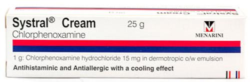 Systral Cream - シストラル・クリーム - 効能:かゆみなど - 用法・用量:1日数回、患部に塗って使用 - 情報:皮膚のかゆみ、湿疹に - 価格目安:100B前後