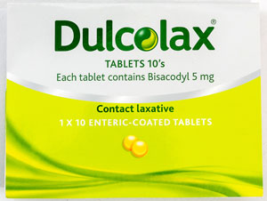 Dulcolax - デュルコラックス - 効能:便秘 - 用法・用量:1日1回、1回1〜2錠を就寝前に服用 - 情報:大腸を刺激して、腸のぜん動運動を促進します - 価格目安:35B前後