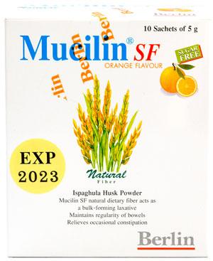 Mucilin SF - ミューシリン・エスエフ - 効能:便秘 - 用法・用量:1包をコップ1杯の水に溶かし、よく混ぜてから服用 - 情報:食物繊維が便通の改善を促します - 価格目安:100B前後
