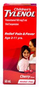 """Tylenol - タイレノール - 効能:発熱 - 用法・用量:年齢と体重により異なります。服用方法は薬剤師に相談してください - 情報:5日以上続けて服用しないでください - 価格目安:75B前後"""