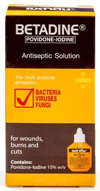 Betadine - ベタジン - 効能:消毒 - 用法・用量:消毒綿など清潔なコットンに染み込ませたガーゼで、患部と周辺を拭います - 情報:薬液に色がありますが、水で洗い流すことができます。火傷・切り傷などの一般的な外傷、細菌などの消毒 - 価格目安:35B前後