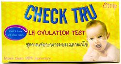 Check TRU - チェック・ティーアールユー - 効能:排卵検査薬 - 用法・用量:尿をカップに取り、試験紙を10秒浸し試験紙の色と本数などの変化をチェックして、判断します - 情報:妊娠検査薬が一つ同封されています。オレンジ色のハイライトが入っていますので、間違えないように扱ってください - 価格目安:350B前後