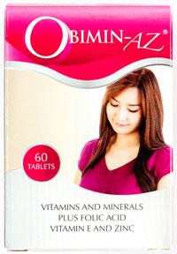 OBIMIN - AZ® - オビミン・エーゼット - 効能: 葉酸入りサプリメント - 用法・用量:1日1回、1回1錠を服用 - 情報:妊娠を希望される方、授乳中の方をはじめすべての方が服用できる栄養補助剤。長期の継続使用する場合は薬剤師に相談してください - 価格目安:300B前後