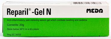 Reparil-Gel N - リパリル・ジェル・エヌ - 効能:腫れ、炎症 - 用法・用量:1日1〜数回患部に塗って使用 - 情報:打ち身などに。腫れ、炎症を抑えてくれます - 価格目安: 90B前後