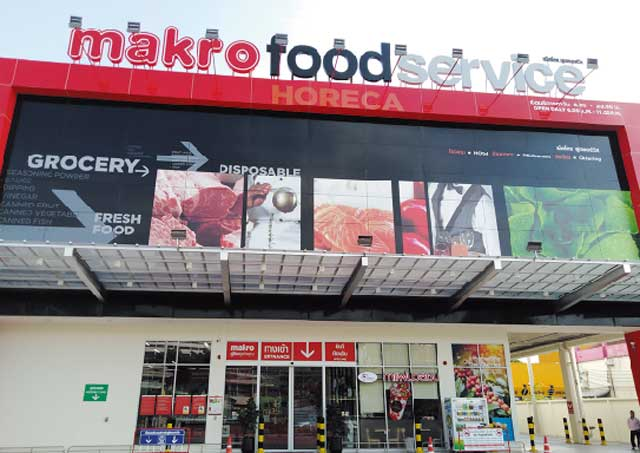 Makro タイの業務用スーパー。食品の他、日用生活品も扱い、量が多いほどお買い得です。