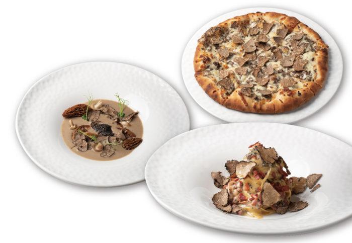 Truffle Pizza Truffle Cream and Truffle Popcorn Tagliatelle Cabonara