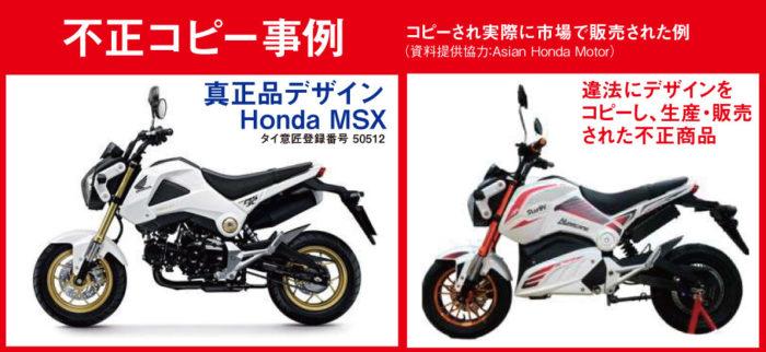 コピーされ実際に市場で販売された例(資料提供協力:Asian Honda Motor)