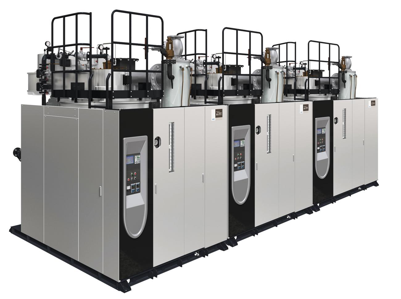 同社が誇る超高効率貫流ボイラ「EQiシリーズ」。「スーパーエクオスEQi-6001(6t/h)」は低負荷でも超高効率を維持し、省エネ・省コストに貢献する