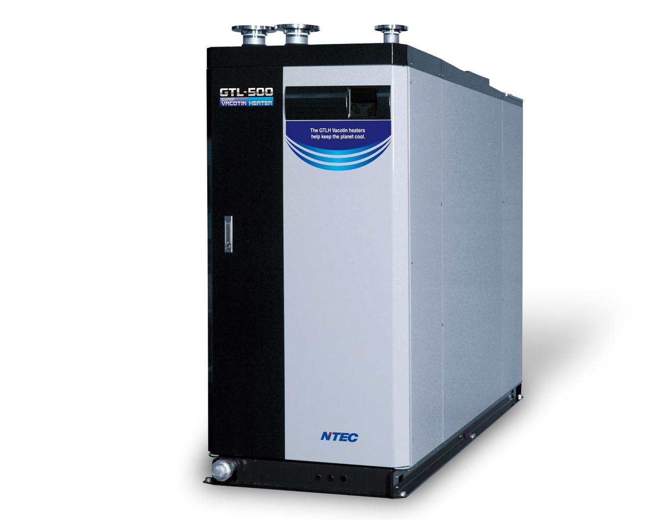 真空式温水ヒーター「スーパーパコティンヒーター」。本体が腐食しないため、耐用年数は15年以上。業界最高効率で、環境負荷低減を実現する