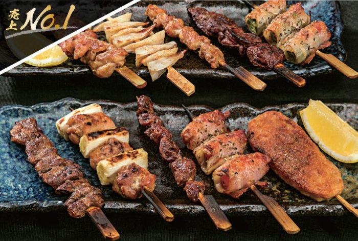 【串焼き各種29B〜】絶妙な加減で火入れされた串焼きは、サイドメニューとして多くの人が注文