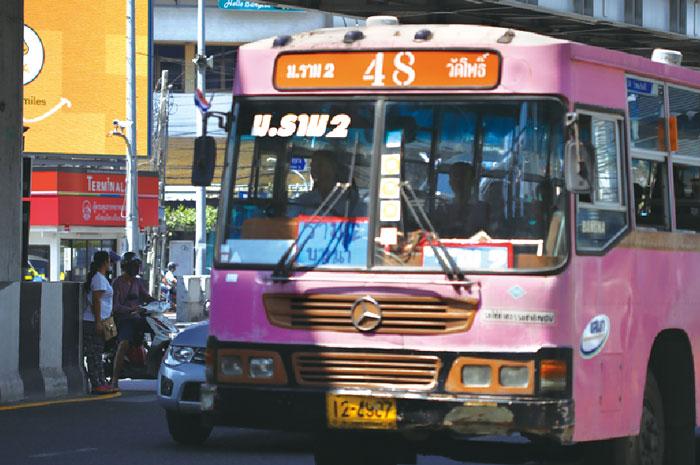 ピンクバス(私営) エアコンなし、天然ガスで走る。一律9B
