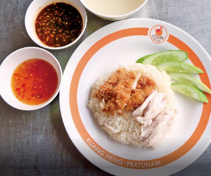 茹で鶏と揚げ鶏2種のカオマンガイ ・・・50B