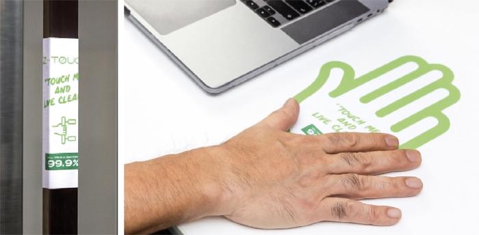 壁はもちろんデスクや取手類など広範囲で使用可。貼り付けるだけなので設置も簡単