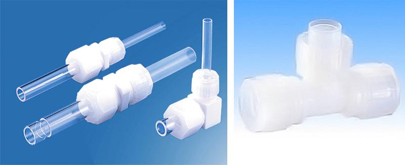【ピラフロン】 ほぼすべての化学薬品・溶剤に対して侵されず、非粘着性に優れるスーパークリーンPFAチューブとその継手。半導体製造・医療業界を下支えする