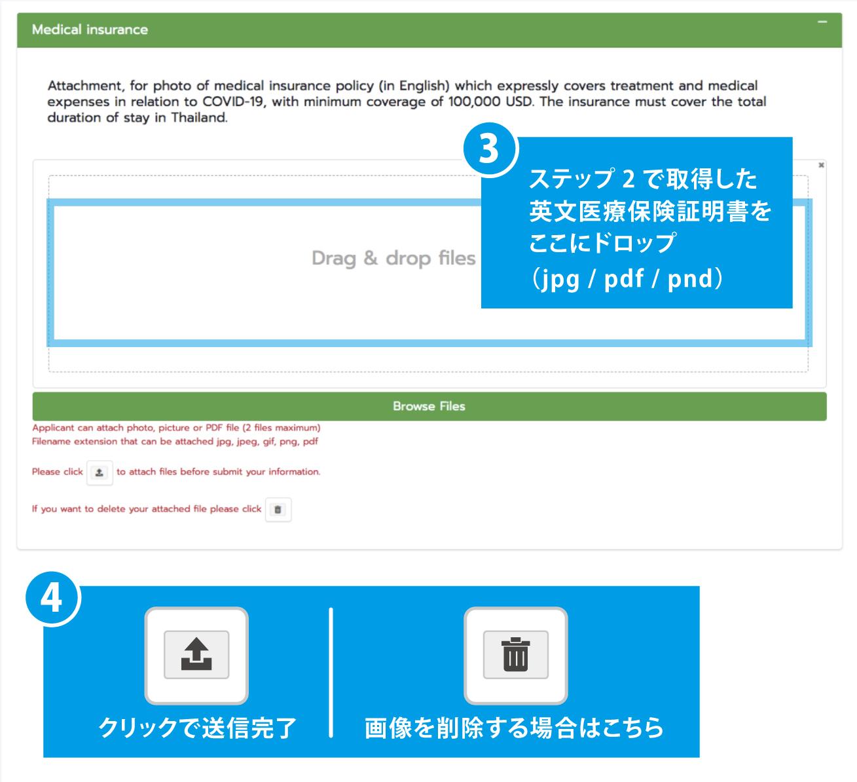 「Browse Files」をクリック(もしくはドラッグ・ドロップ)してセーブしておいた、保険証明書のデータファイルを選択する。