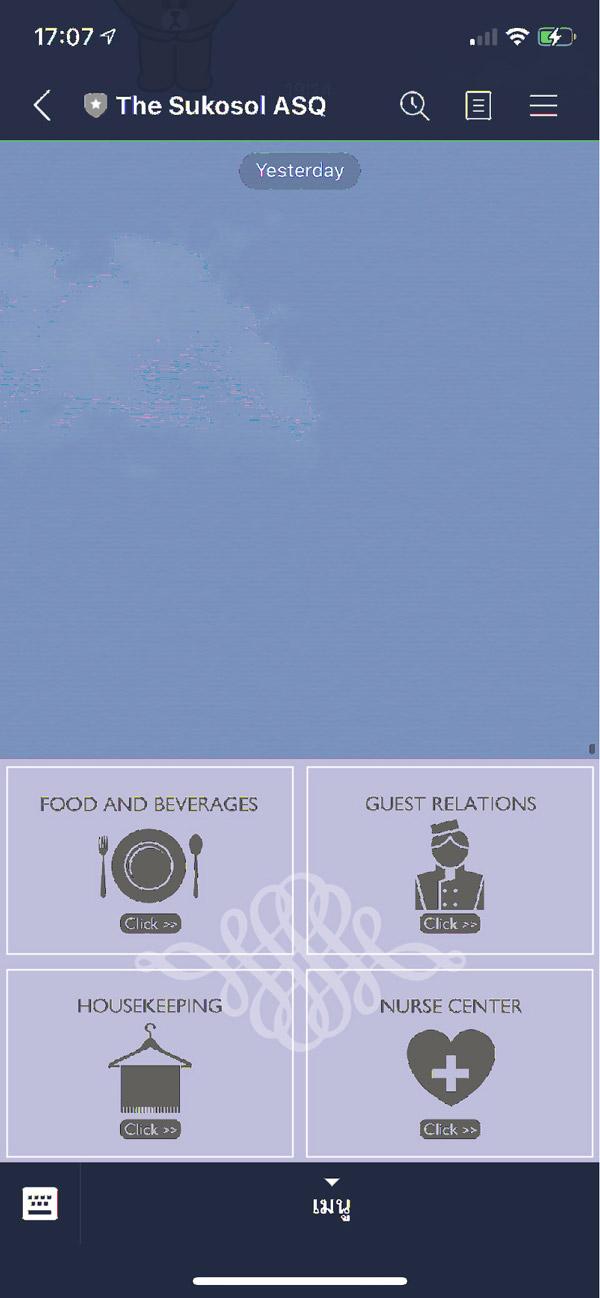 The Sukosol Hotelでは全てのコミュニケーションをLINEアプリを使って可能にしています。 英語テキスト(日本語も可能らしい…)でのやり取りにはなりますが食事の注文、検温結果の報告、何か必要なモノの注文まで、正確に意思の疎通ができ、履歴も残るので口頭よりも便利です。