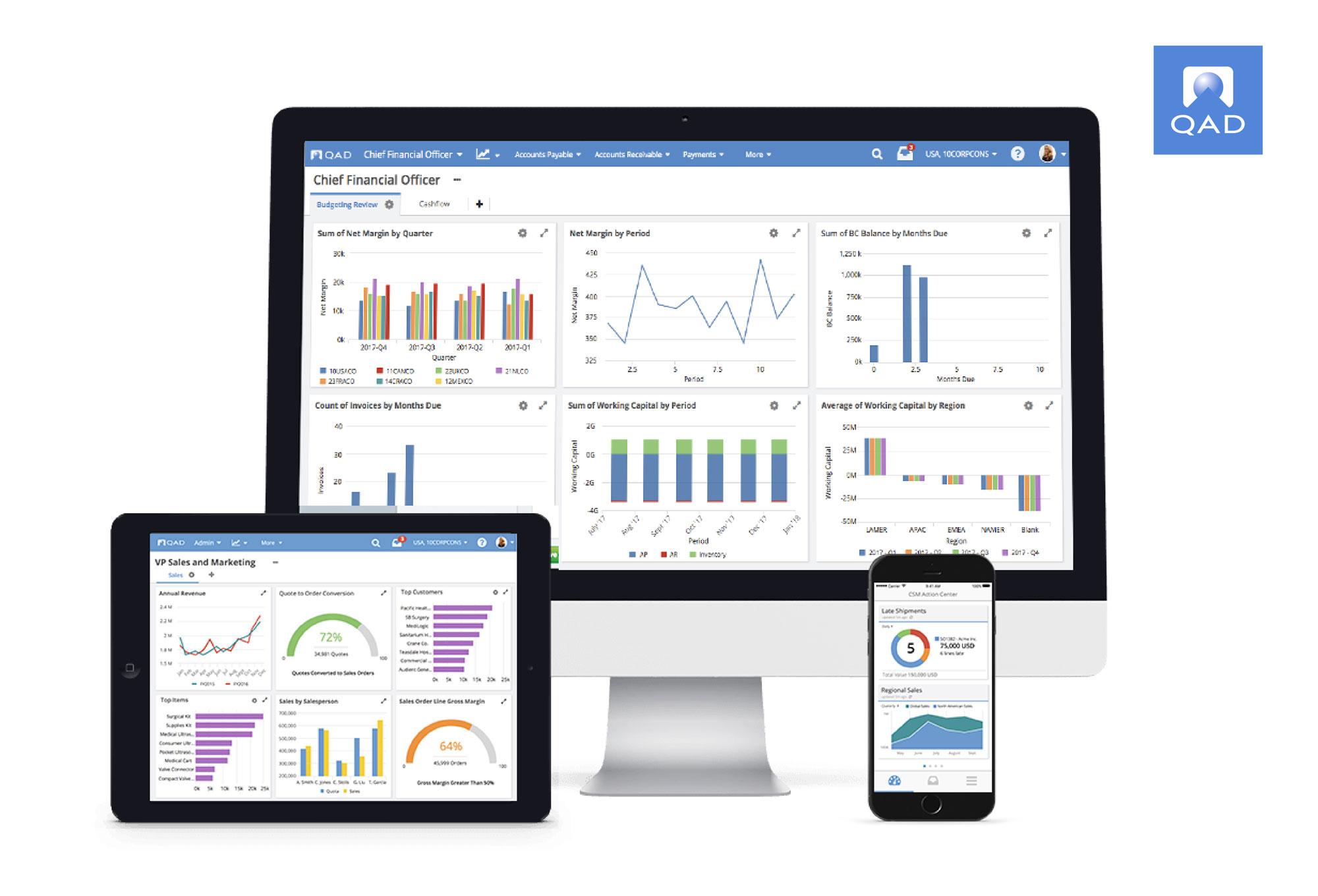 QADは、製造業に特化したクラウドベースのERPソフトウェアプロバイダーです。 ERPは、エンタープライズ・リソース・プランニングの略であり、組織のすべてのコアサプライチェーン、製造、サービス、財務、その他のプロセスを計画し、管理するために使用されるソフトウェアとシステムを指します。