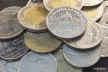 一番上がラマ9世時代に発行された5B硬貨