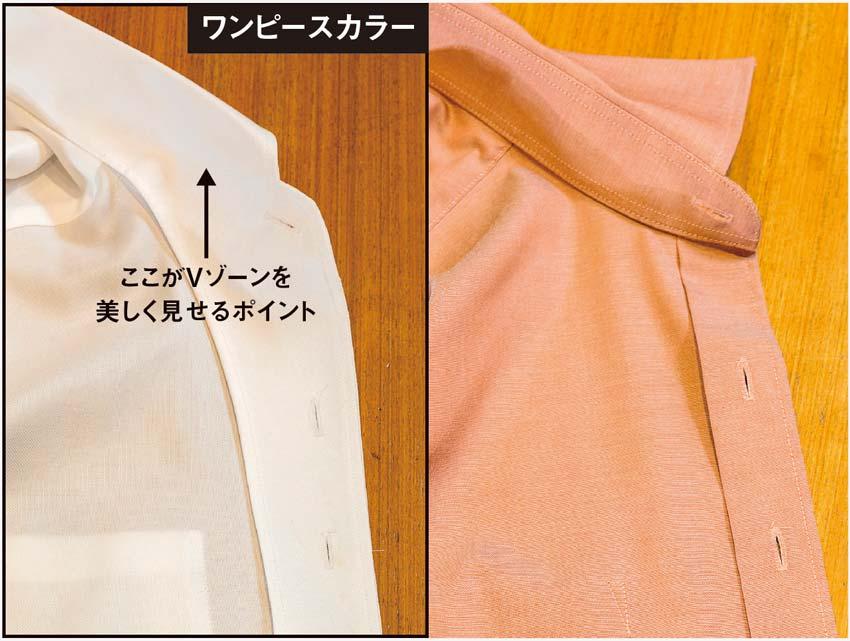 襟元が自然なロールを描くワンピースカラー(左)と一般的な仕立てのワイシャツ(右)