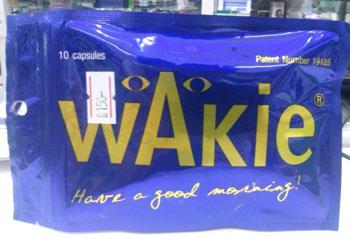 WAKIE - ウェキ - 効能:二日酔い防止 - 用法・用量:1日1回、1~2錠を飲酒前に - 情報:肝機能向上成分を配合。二日酔いを防ぎます - 価格目安:190B前後