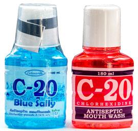 C-20 - C-20 - 効能:口中洗浄、口臭防止 - 用法・用量:適量を口に含み、なるべく口腔全体に行き渡らせた後吐き出します - 情報:医療用殺菌薬(クロルヘキシジン)を配合し、口腔内の消毒ができます - 価格目安:60B前後