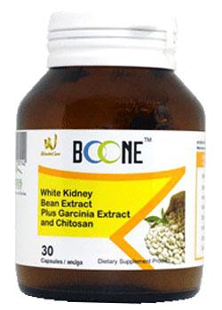 BOONE WHITE KIDNEY BEAN EXTRACT PLUS - ボーン・ホワイト・キドニー・ビーン・エクストラクト・プラス - 効能:糖質(炭水化物)の吸収を抑制 - 用法・用量:1日1~2回、食前に1カプセルを摂取 - 情報:白インゲン豆の抽出エキスが消化酵素の分泌を抑え、余分な糖質の消化・吸収をブロックします - 価格目安:350B前後