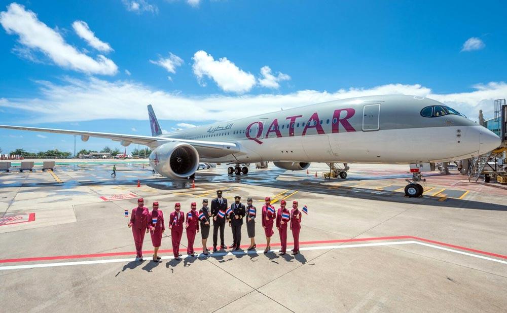 カタール航空が「プーケットサンドボックス」を受けて1日、プーケット国際空港に到着。カタールのドーハからプーケットへ週4便が就航するという。