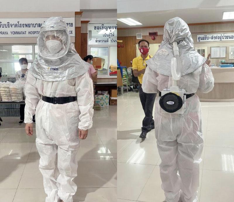 タイ発電公社は14日、中部スパンブリー県ムアン市内の病院に対し医療従事者向けの電動ファン付呼吸⽤保護具(PAPR)を寄贈した。暑さや息苦しさに配慮した設計で、医療現場への普及を目指す。