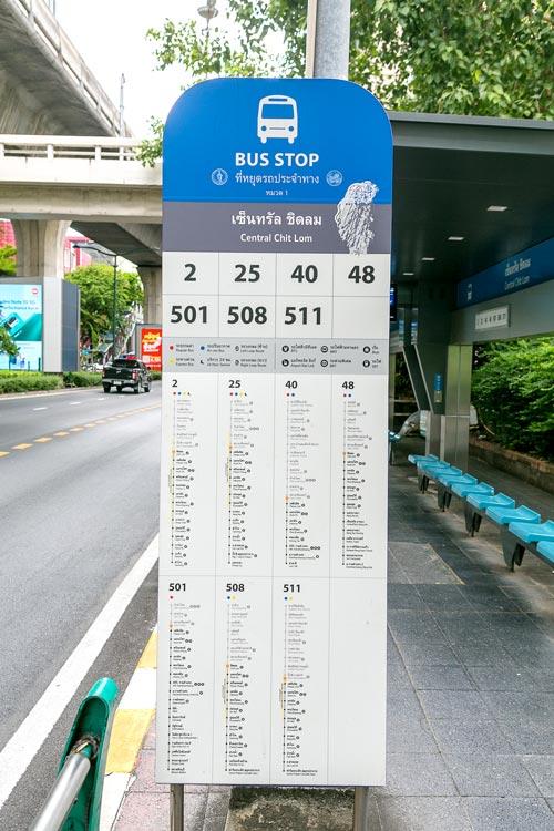 各路線の停車バス停が表示された看板
